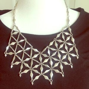 Lucky Silver Bib Necklace